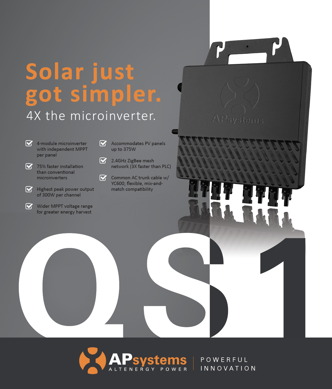 apsystems launches qs1 four module 1200w ac microinverter. Black Bedroom Furniture Sets. Home Design Ideas
